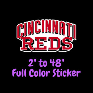 Cincinnati Reds Full Color Vinyl Sticker ; Hydroflask decal  Laptop Decal Yeti Decal ; Cell phone Decal Cornhole Decal Vinyl Car Decal
