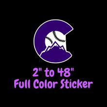 Load image into Gallery viewer, Colorado Rockies Full Color Vinyl Sticker ; Hydroflask decal  Laptop Decal Yeti Decal ; Cell phone Decal Cornhole Decal Vinyl Car Decal