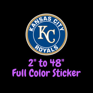 Kansas City Royals Full Color Vinyl Sticker ; Hydroflask decal  Laptop Decal Yeti Decal ; Cell phone Decal Cornhole Decal Vinyl Car Decal