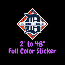 Load image into Gallery viewer, Detroit Tigers Full Color Vinyl Sticker ; Hydroflask decal  Laptop Decal Yeti Decal ; Cell phone Decal Cornhole Decal Vinyl Car Decal