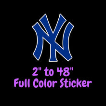 Load image into Gallery viewer, New York Yankees Full Color Vinyl Sticker ; Hydroflask decal  Laptop Decal Yeti Decal ; Cell phone Decal Cornhole Decal Vinyl Car Decal