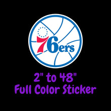 Load image into Gallery viewer, Philadelphia 76ers Full Color Vinyl Sticker ; Hydroflask decal ; Laptop Decal ; Yeti Decal Cell phone Decal Cornhole Decal Vinyl Car Decal