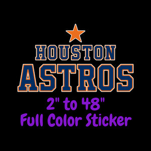 Houston Astros Full Color Vinyl Sticker ; Hydroflask decal  Laptop Decal Yeti Decal ; Cell phone Decal Cornhole Decal Vinyl Car Decal