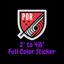 Load image into Gallery viewer, Portland Trail Blazers Full Color Vinyl Sticker ; Hydroflask decal Laptop Decal ; Yeti Decal Cell phone Decal Cornhole Decal Vinyl Car Decal