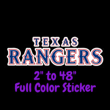 Load image into Gallery viewer, Texas Rangers Full Color Vinyl Sticker ; Hydroflask decal  Laptop Decal Yeti Decal ; Cell phone Decal Cornhole Decal Vinyl Car Decal