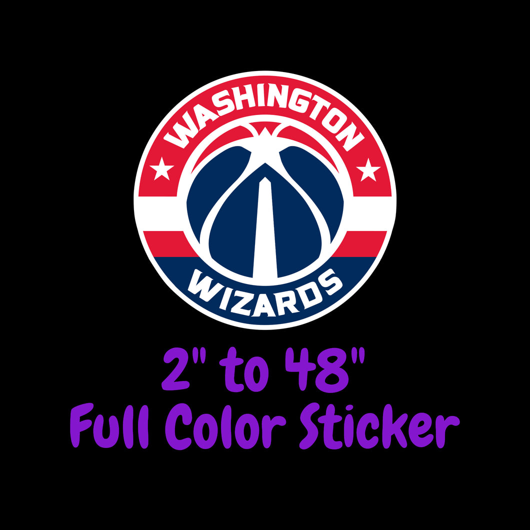 Washington Wizards Full Color Vinyl Sticker ; Hydroflask decal Laptop Decal ; Yeti Decal Cell phone Decal Cornhole Decal Vinyl Car Decal