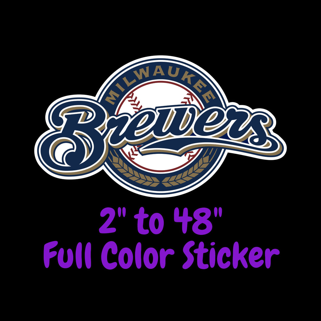 Milwaukee Brewers Full Color Vinyl Sticker ; Hydroflask decal  Laptop Decal Yeti Decal ; Cell phone Decal Cornhole Decal Vinyl Car Decal