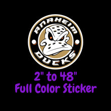 Load image into Gallery viewer, Anaheim Ducks Full Color Vinyl Sticker ; Hydroflask decal ; Laptop Decal ; Yeti Decal Cell phone Decal Cornhole Decal Vinyl Car Decal