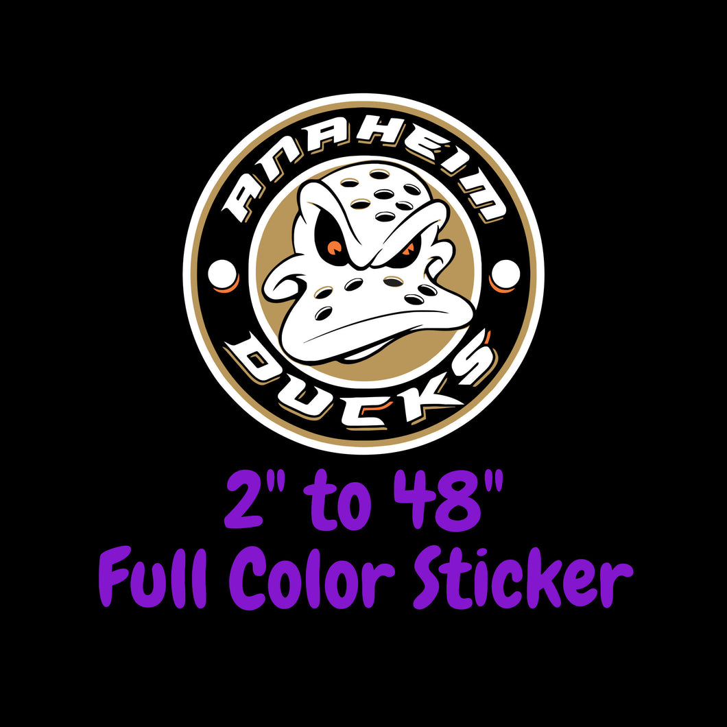 Anaheim Ducks Full Color Vinyl Sticker ; Hydroflask decal ; Laptop Decal ; Yeti Decal Cell phone Decal Cornhole Decal Vinyl Car Decal