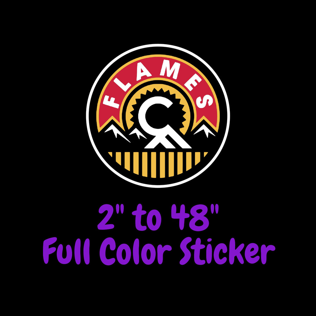 Calgary Flames Full Color Vinyl Sticker ; Hydroflask decal ; Laptop Decal ; Yeti Decal Cell phone Decal Cornhole Decal Vinyl Car Decal