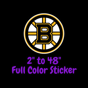 Boston Bruins Full Color Vinyl Sticker ; Hydroflask decal ; Laptop Decal ; Yeti Decal Cell phone Decal Cornhole Decal Vinyl Car Decal