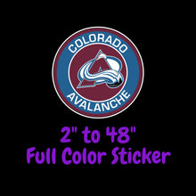 Load image into Gallery viewer, Colorado Avalanche Full Color Vinyl Sticker ; Hydroflask decal ; Laptop Decal ; Yeti Decal Cell phone Decal Cornhole Decal Vinyl Car Decal