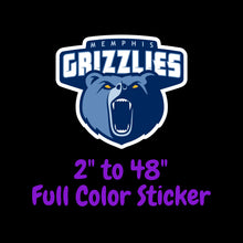 Load image into Gallery viewer, Memphis Grizzlies Full Color Vinyl Sticker ; Hydroflask decal Laptop Decal ; Yeti Decal Cell phone Decal Cornhole Decal Vinyl Car Decal