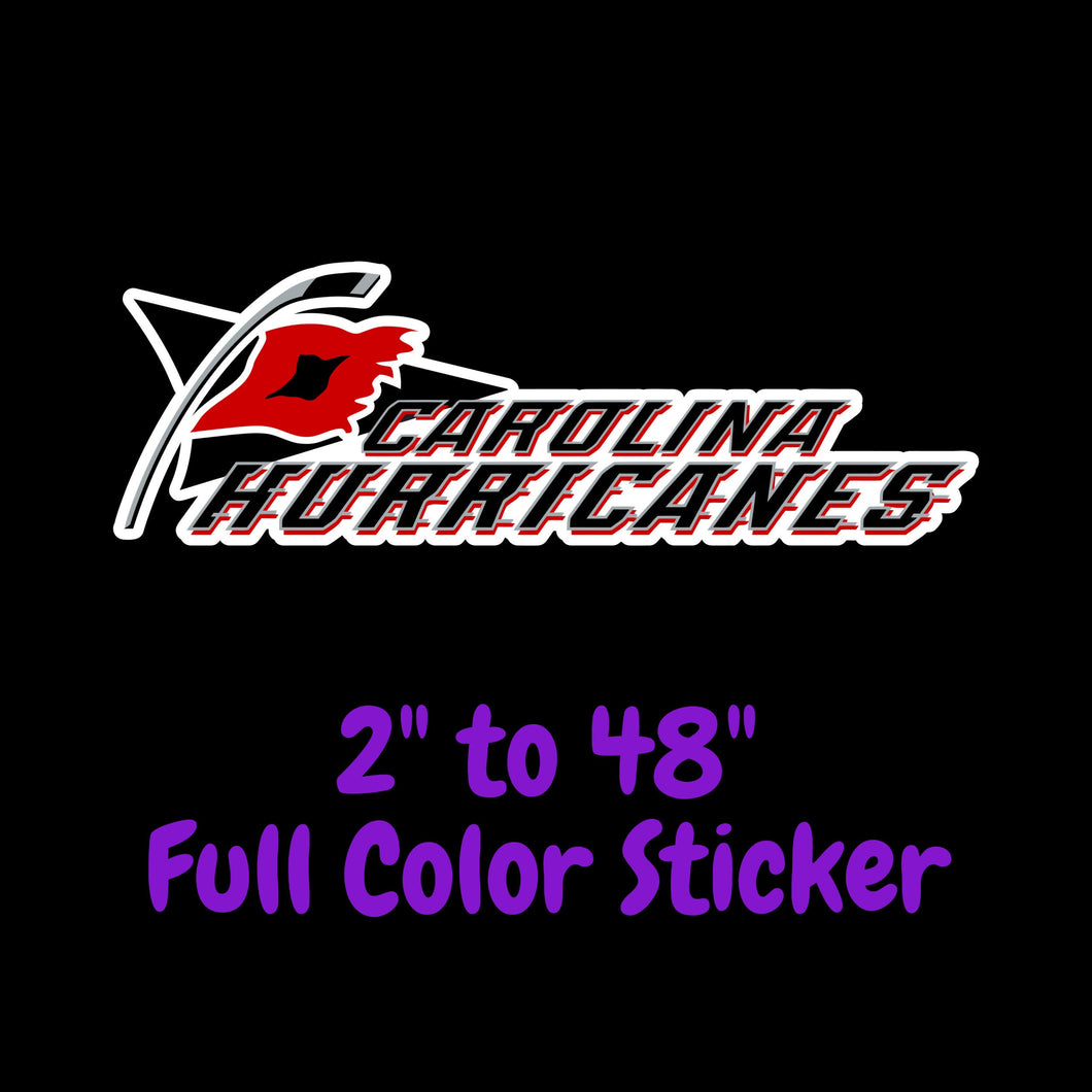 Carolina Hurricanes Full Color Vinyl Sticker ; Hydroflask decal ; Laptop Decal ; Yeti Decal Cell phone Decal Cornhole Decal Vinyl Car Decal