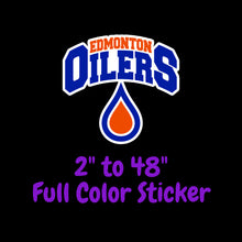 Load image into Gallery viewer, Edmonton Oilers Full Color Vinyl Sticker ; Hydroflask decal ; Laptop Decal ; Yeti Decal Cell phone Decal Cornhole Decal Vinyl Car Decal