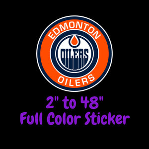 Edmonton Oilers Full Color Vinyl Sticker ; Hydroflask decal ; Laptop Decal ; Yeti Decal Cell phone Decal Cornhole Decal Vinyl Car Decal