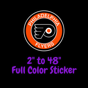 Philadelphia Flyers Full Color Vinyl Sticker ; Hydroflask decal ; Laptop Decal  Yeti Decal Cell phone Decal Cornhole Decal Vinyl Car Decal
