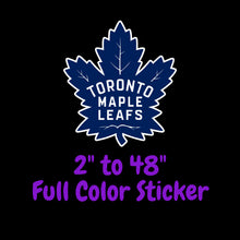 Load image into Gallery viewer, Toronto Maple Leafs Full Color Vinyl Sticker ; Hydroflask decal ; Laptop Decal  Yeti Decal Cell phone Decal Cornhole Decal Vinyl Car Decal