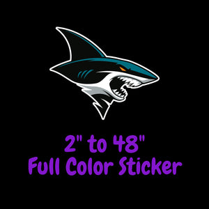 San Jose Sharks Full Color Vinyl Sticker ; Hydroflask decal ; Laptop Decal  Yeti Decal Cell phone Decal Cornhole Decal Vinyl Car Decal