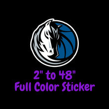 Load image into Gallery viewer, Dallas Mavericks Full Color Vinyl Sticker ; Hydroflask decal Laptop Decal ; Yeti Decal Cell phone Decal Cornhole Decal Vinyl Car Decal