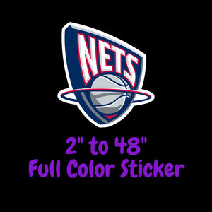 Brooklyn Nets Full Color Vinyl Sticker ; Hydroflask decal Laptop Decal ; Yeti Decal Cell phone Decal Cornhole Decal Vinyl Car Decal