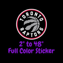 Load image into Gallery viewer, Toronto Raptors Full Color Vinyl Sticker ; Hydroflask decal Laptop Decal ; Yeti Decal Cell phone Decal Cornhole Decal Vinyl Car Decal