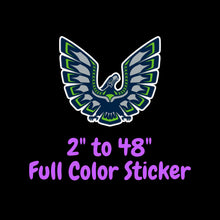 Load image into Gallery viewer, Seattle Seahawks Full Color Vinyl Sticker ; Hydroflask decal ; Laptop Decal ; Yeti Decal ; Cell phone Decal ; Cornhole Decal Vinyl Car Decal
