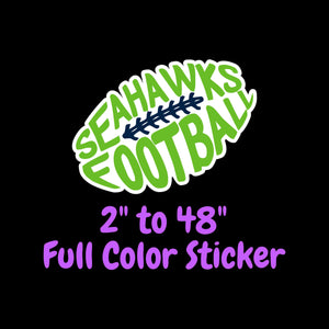 Seattle Seahawks Full Color Vinyl Sticker ; Hydroflask decal ; Laptop Decal ; Yeti Decal ; Cell phone Decal ; Cornhole Decal Vinyl Car Decal