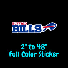 Load image into Gallery viewer, Buffalo Bills Full Color Vinyl Sticker ; Hydroflask decal ; Laptop Decal ; Yeti Decal ; Cell phone Decal ; Cornhole Decal Vinyl Car Decal