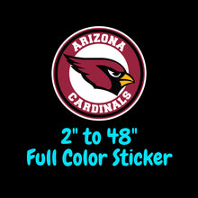 Load image into Gallery viewer, Arizona Cardinals Full Color Vinyl Sticker ; Hydroflask decal ; Laptop Decal ; Yeti Decal Cell phone Decal Cornhole Decal Vinyl Car Decal