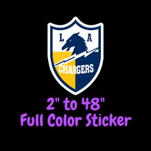 Load image into Gallery viewer, Los Angeles Chargers Full Color Vinyl Sticker ; Hydroflask decal ; Laptop Decal ; Yeti Decal Cell phone Decal Cornhole Decal Vinyl Car Decal