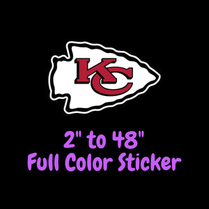 Kansas City Chiefs Full Color Vinyl Sticker ; Hydroflask decal ; Laptop Decal ; Yeti Decal Cell phone Decal Cornhole Decal Vinyl Car Decal