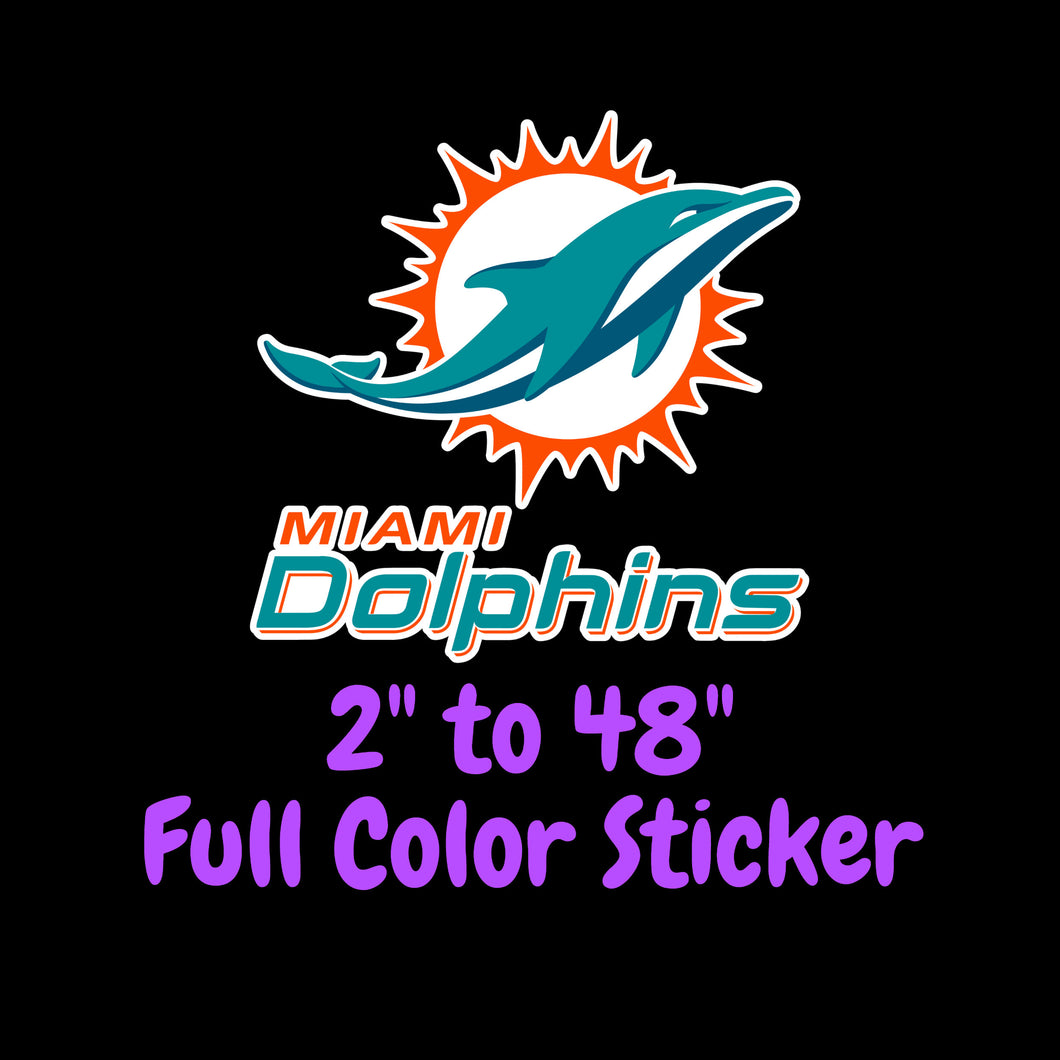Miami Dolphins Full Color Vinyl Sticker ; Hydroflask decal ; Laptop Decal ; Yeti Decal Cell phone Decal Cornhole Decal Vinyl Car Decal