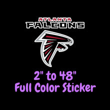 Load image into Gallery viewer, Atlanta Falcons Full Color Vinyl Sticker ; Hydroflask decal ; Laptop Decal ; Yeti Decal Cell phone Decal Cornhole Decal Vinyl Car Decal