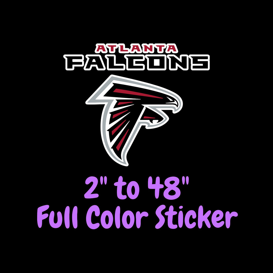 Atlanta Falcons Full Color Vinyl Sticker ; Hydroflask decal ; Laptop Decal ; Yeti Decal Cell phone Decal Cornhole Decal Vinyl Car Decal