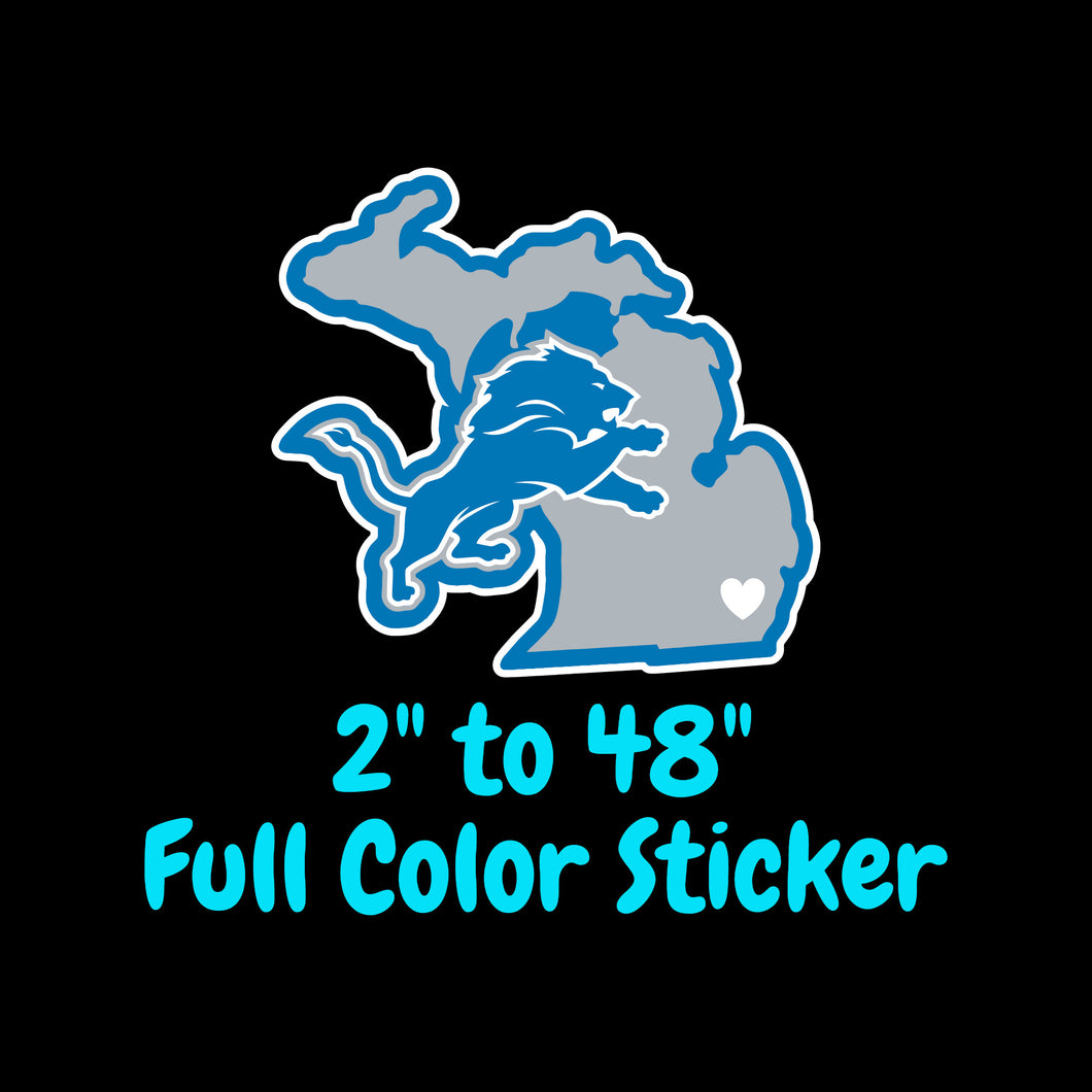 Detroit Lions Full Color Vinyl Sticker ; Hydroflask decal ; Laptop Decal ; Yeti Decal Cell phone Decal Cornhole Decal Vinyl Car Decal