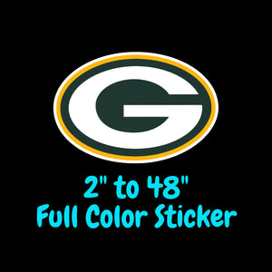 Green Bay Packers Full Color Vinyl Sticker ; Hydroflask decal ; Laptop Decal ; Yeti Decal Cell phone Decal Cornhole Decal Vinyl Car Decal