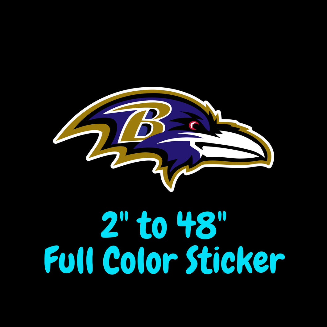 Baltimore Ravens Full Color Vinyl Sticker ; Hydroflask decal ; Laptop Decal ; Yeti Decal Cell phone Decal Cornhole Decal Vinyl Car Decal