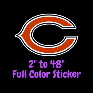 Chicago Bears Full Color Vinyl Sticker ; Hydroflask decal ; Laptop Decal ; Yeti Decal Cell phone Decal Cornhole Decal Vinyl Car Decal