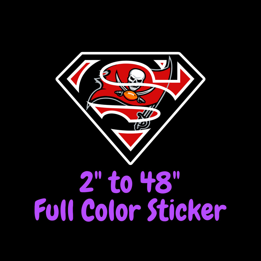 Tampa Bay Buccaneers Full Color Vinyl Sticker ; Hydroflask decal ; Laptop Decal ; Yeti Decal Cell phone Decal Cornhole Decal Vinyl Car Decal