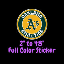 Load image into Gallery viewer, Oakland Athletics Full Color Vinyl Sticker ; Hydroflask decal ; Laptop Decal ; Yeti Decal Cell phone Decal Cornhole Decal Vinyl Car Decal