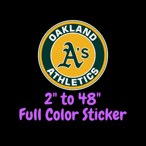 Oakland Athletics Full Color Vinyl Sticker ; Hydroflask decal ; Laptop Decal ; Yeti Decal Cell phone Decal Cornhole Decal Vinyl Car Decal