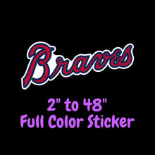 Load image into Gallery viewer, Atlanta Braves Full Color Vinyl Sticker ; Hydroflask decal ; Laptop Decal ; Yeti Decal Cell phone Decal Cornhole Decal Vinyl Car Decal