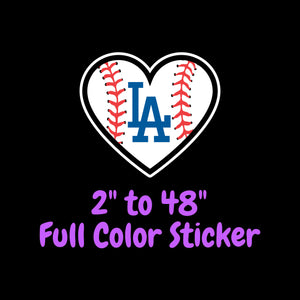 Los Angeles Dodgers Full Color Vinyl Sticker ; Hydroflask decal ; Laptop Decal ; Yeti Decal Cell phone Decal Cornhole Decal Vinyl Car Decal