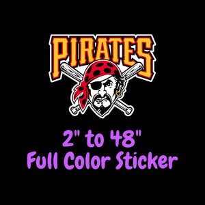 Pittsburgh Pirates Full Color Vinyl Sticker ; Hydroflask decal  Laptop Decal Yeti Decal ; Cell phone Decal Cornhole Decal Vinyl Car Decal