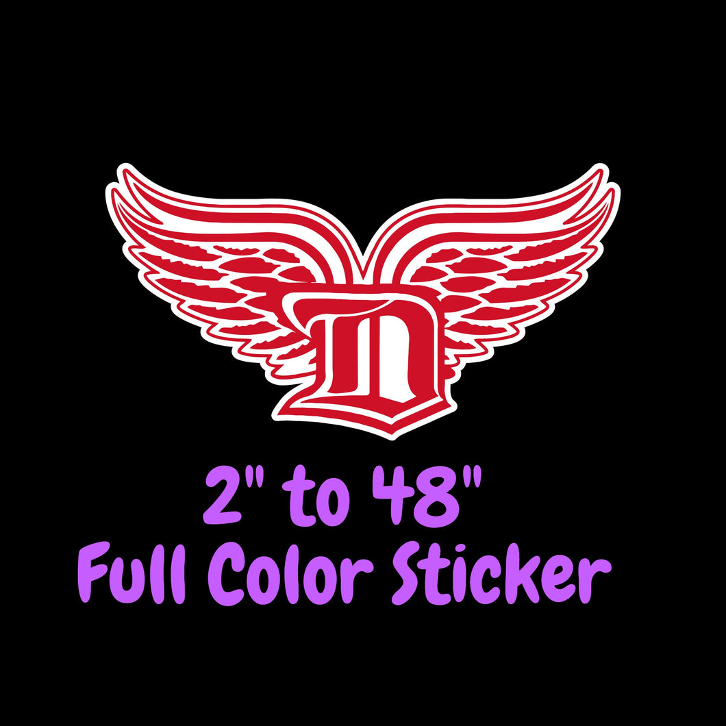 Detroit Red Wings Full Color Vinyl Sticker ; Hydroflask decal ; Laptop Decal ; Yeti Decal Cell phone Decal Cornhole Decal Vinyl Car Decal