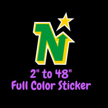 Load image into Gallery viewer, Minnesota North Stars Full Color Vinyl Sticker ; Hydroflask decal ; Laptop Decal  Yeti Decal Cell phone Decal Cornhole Decal Vinyl Car Decal