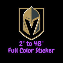 Load image into Gallery viewer, Vegas Golden Knights Full Color Vinyl Sticker ; Hydroflask decal ; Laptop Decal ; Yeti Decal Cell phone Decal Cornhole Decal Vinyl Car Decal