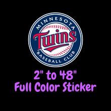 Load image into Gallery viewer, Minnesota Twins Full Color Vinyl Sticker ; Hydroflask decal  Laptop Decal Yeti Decal ; Cell phone Decal Cornhole Decal Vinyl Car Decal