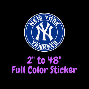 New York Yankees Full Color Vinyl Sticker ; Hydroflask decal  Laptop Decal Yeti Decal ; Cell phone Decal Cornhole Decal Vinyl Car Decal